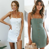 Summer New Women Sleeveless Slash Neck Plunge Bardot Button Mini A Line Dress Ladies Slip Beach Sun Dress