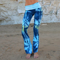Womens Yoga Pants - Ankle Length in Cotton Lycra - Maluhii- Yoga Clothes