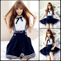 Japanese Girl Japan School Uniform Dress Sailor Cosplay Costume Anime Style