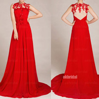 Red prom dresses, lace prom dress, backless prom dresses, long prom dress, cheap prom dresses, chiffon prom dress, dresses for prom, RE532