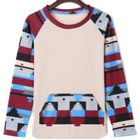 White Contrast Printed Pocket Detail Long Sleeve T-shirt