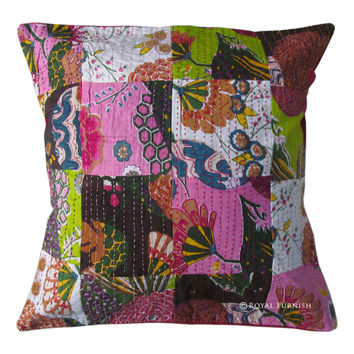 "16X16"" Indian Kantha Patchwork Cotton Decorative Throw Cushion Toss Pillow Cover"