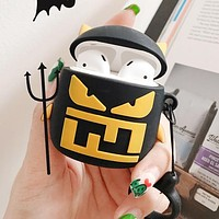FENDI Newest Hot Sale Airpods Case Wireless Bluetooth Headphone Case Little Monster Airpods 2 Silicone Case (No Headphones) Black