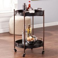 Two-Tier Kitchen Cart With Two Removable Trays Black With Aged Bronze Finish New