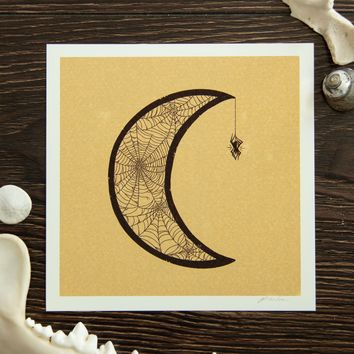 Spiderweb Moon 5x5 Signed Art Print