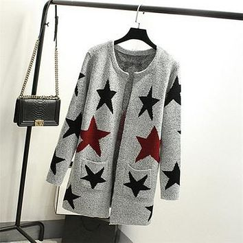 New Autumn Spring Women Sweater Cardigans Casual Warm Long Design Female Knitted Sweater Printed Cardigan Sweater