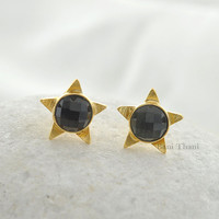 Silver Stud Earring, Gemstone Earring, Smoky Quartz Round 9mm Micron Gold Plated Designer Star 925 Sterling Silver Stud Earrings - #1668