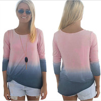 Pink and Grey Long Sleeve Shirt
