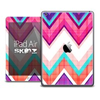 The Sharp Pink and Colored Chevron Pattern Skin for the iPad Air