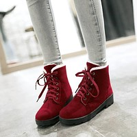 Lace Up Women Snow Boots Winter Artificial Suede Shoes Woman
