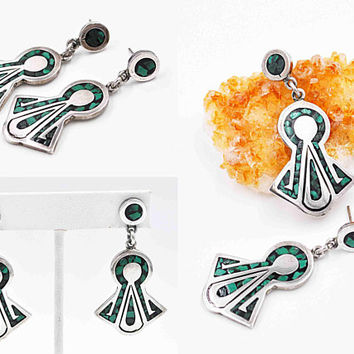 Vintage Taxco Sterling Silver & Malachite Inlay Pierced Earrings, Mexico, Inlaid, Dangle, Keyhole, Flared, Green, 20.7 Grams! #c481
