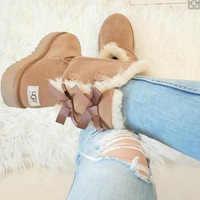 UGG:: bow leather boots boots in tubeb cute two bowknot Fresh Chestnut