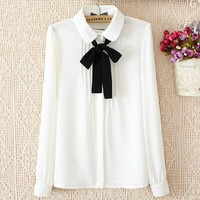 Female Fashion Elegant Bow Tie White Blouses Chiffon Peter Pan Collar Casual Shirt Ladies Tops Blouse Women Plus Size 70256
