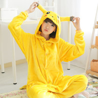 Unisex Flannel Onesuits For Adult Cut Animal Pajamas Onesuits Pokemon Pikachu Hooded Adult Animal Onesuits Pijama