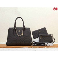 COACH Popular Women Leather Tote Handbag Shoulder Bag Crossbody Satchel Three Piece Set