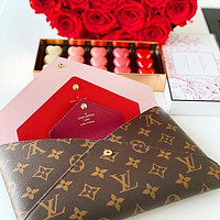 LV Hnadbag Louis Vuitton Makeup bag Three Piece Suit Print Coffee Red Internal Handbag Envelope Bag