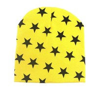 new cotton star print spring autumn winter children beanies boys girls headwear caps cute baby kids hats fashion simple wrap hat