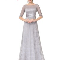 Women's Elegant Long Mother of the Bride Dresse Ever Pretty EP08878 Grey Lace Floor-Length Mother of the Bride Dresses