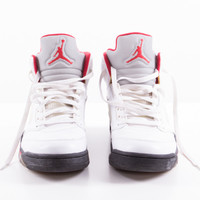 White, Gray and Red Leather Sneakers