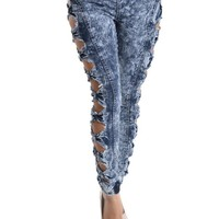 Women's Cut-N-Tied Acid Wash Jogger Pants