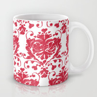 giving hearts giving hope: red damask Mug by Vy La