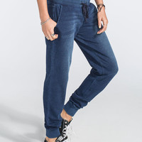 Full Tilt French Terry Washed Womens Jogger Pants Blue  In Sizes