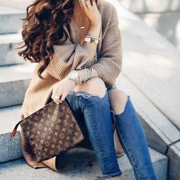 LV Hot Selling Fashion Documents Handbags Business Wallet for Men and Women LV pattern coffee