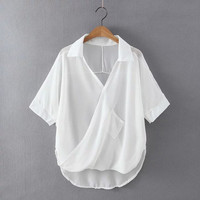 Short Sleeve Wrapped Around Irregular Hem Chiffon Blouse
