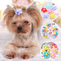2016 Fashion 2pcs pet hairpin Bow Candy Pet Dog Cat Puppy Hairpin Hair Clip Dog Wedding accessories