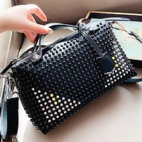 Hipgirls Fendi Fashion New Rivets Leather Shoulder Bag Crossbody Bag Handbag Black