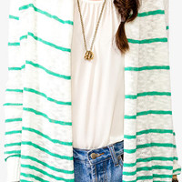 Open Front Striped Sweater