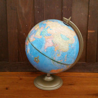 "Vintage 12"" Cram's Imperial World Globe on Metal Base Stand Great Mid Century Decor for the Mantel Library Classroom"