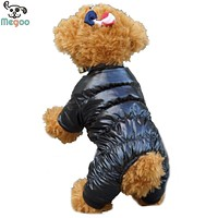 Solid Color Winter Dog Clothes Soft Fleece Lining Warm Puppy Jumpsuit Coat Size 8-18