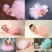 New Soft Cute Newborn Baby Girl Clothes Skirt Set Newborn Baby Photography Props Baby tutu Baby Cap Hat For boys girls