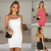 2020 new women's sexy one-shoulder strap dress pleated vest skirt dress