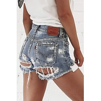 Vintage Levi's 501 Distressed Denim Shorts  25