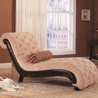 Accent Seating Traditional Chaise with Button Tufting and Carved Wood Trim - traditional - chairs - san francisco - by CheaperFloors