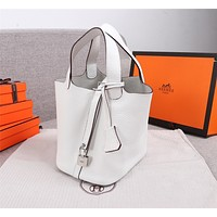 HERMES WOMEN'S LEATHER HANDBAG SHOPPING BAG