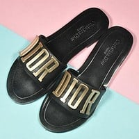 Dior Popular Woman Beach Home Simple Letter Sandals Slipper Shoes