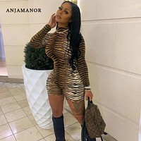 ANJAMANOR Cheetah Print Sexy Rompers Playsuit Fall Clothes for Women Clubwear High Neck Long Sleeve Bodycon Jumpsuit D83-I62
