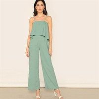 Green Zip Back Overlap Wide Leg Spaghetti Strap Jumpsuit Women Office Lady Mid Waist Elegant Glamorous Jumpsuits