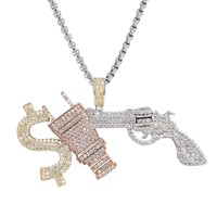 Money Respect Multi Color Iced Out Silver Pendant Chain