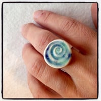 Inspired by the blue colors of Greece beaches Aqua Ring Silver plated adjustable Ecofriendly Handmade clay base lead free nickel free
