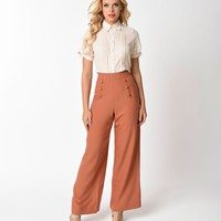 Unique Vintage 1940s Style Cinnamon Brown High Waist Sailor Ginger Pants