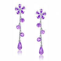 Cubic Zirconia Flower Drop Earrings (Purple)
