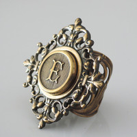 Vintage Ring - Initial E - Vintage Brass Ring - Letter E - Personalized jewelry - ALL LETTERS - Adjustable Ring - handmade jewelry