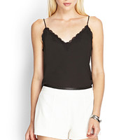 FOREVER 21 Faux Leather-Trimmed Shorts Cream