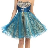Strapless Cocktail Party Junior Prom Dress #863 (4, Teal)