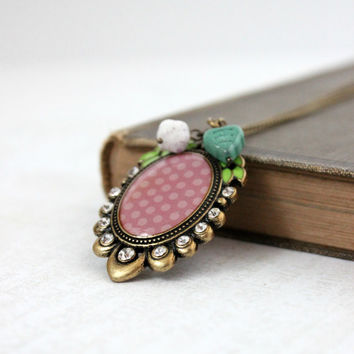 Antique Gold and Pink Polka Dot Beaded Pendant with Green Leaves - Vintage Style Shabby Chic Jewelry - Ready to Ship