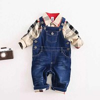Newly Design Baby Boys Clothes Sets Plaid T-shirt Top Bib Pants Overall Outfits Nov11
